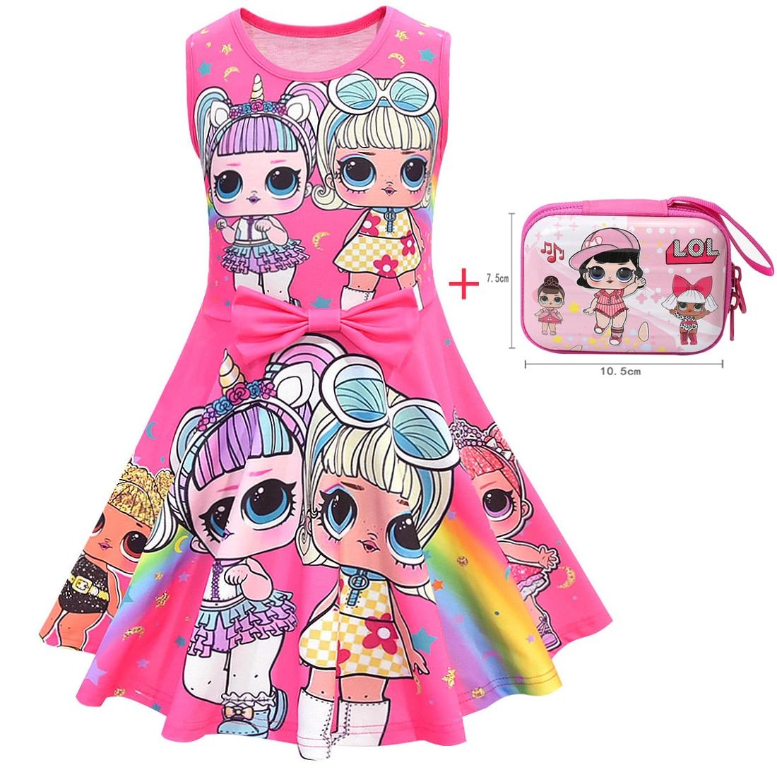 Girl Lol Dress 2019 New Girls Kids Cartoon Dolls Clothes Children's Sleeveless Vest Princess Dresses With Wallet For Girl Dress
