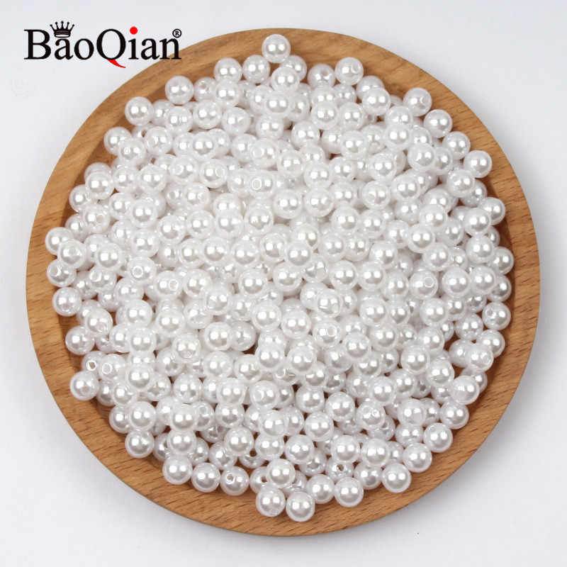 3-20mm white Round spacer acrylic on pearl sew beads craft jewelry beaded making