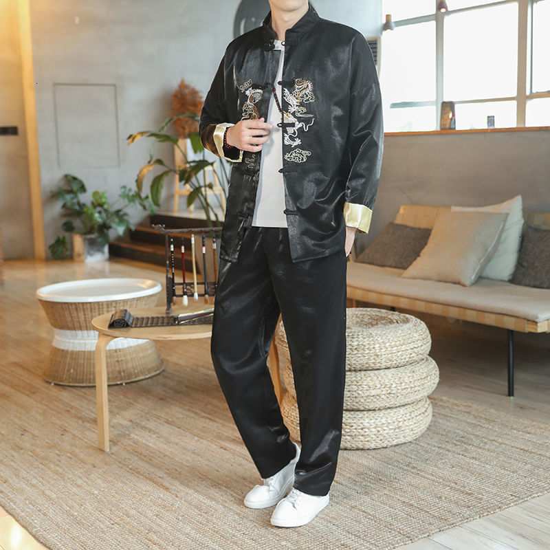 MrGoldenBowl 2020 Autumn Chinese Style Men's Suit Embroidered Coat Two-piece Set Pants Clothes Casual Oversize Man Fashion Suit