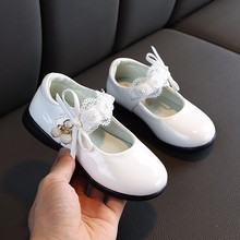 Child Flower Bead Little Girls Dress Bow Princess Party Shoe For Wedding Shoes Big Kids Leather Shoe 3 4 5 6 7 8 9 10 11 12 Year