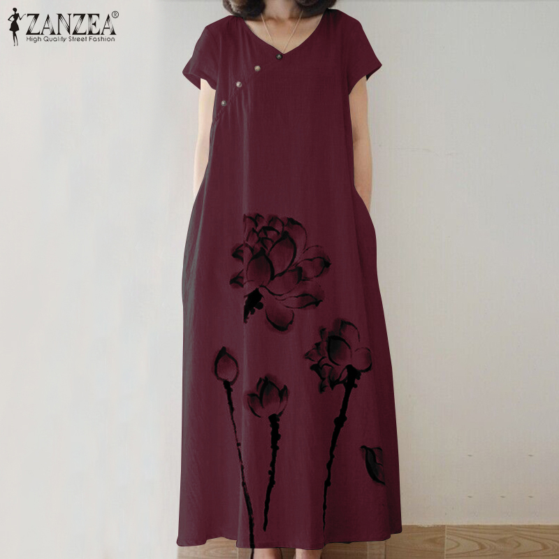 ZANZEA Summer Vintage Floral Printed Sundress Women V Neck Short Sleeve Cotton Linen Dress Loose Vestido Kaftan Dresses Baggy