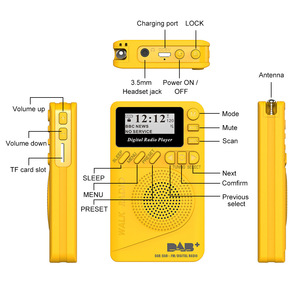 Image 2 - נייד P9 MP3 נגן מיני כיס דיגיטלי DAB רדיו FM ממצת אפנון דיגיטלי עם LCD תצוגת מסך מולטימדיה נגן TF כרטיס