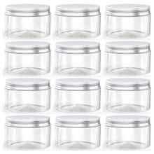 Pot en plastique avec couvercles, Pot à vis en étain transparent vide pour cosmétiques, crème en poudre, boîte de maquillage 50 pièces/ensemble 20g 30g 50g 100g 120g 150g