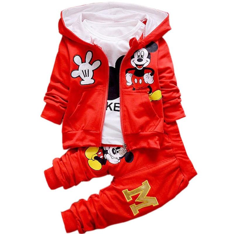 Autumn Boys Girls Mickey Minnie 3PCS Clothing Sets Cartoon Hooded Vest Jackets + T Shirt + Pants Casual Sprot Set Kids Clothes