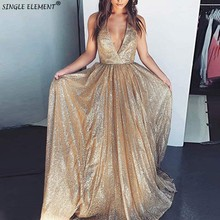 Single Element Backless Rose-gold Sequin Prom Dresses V Neck Sexy Long Train Formal Party Dress Vestidos de fiesta