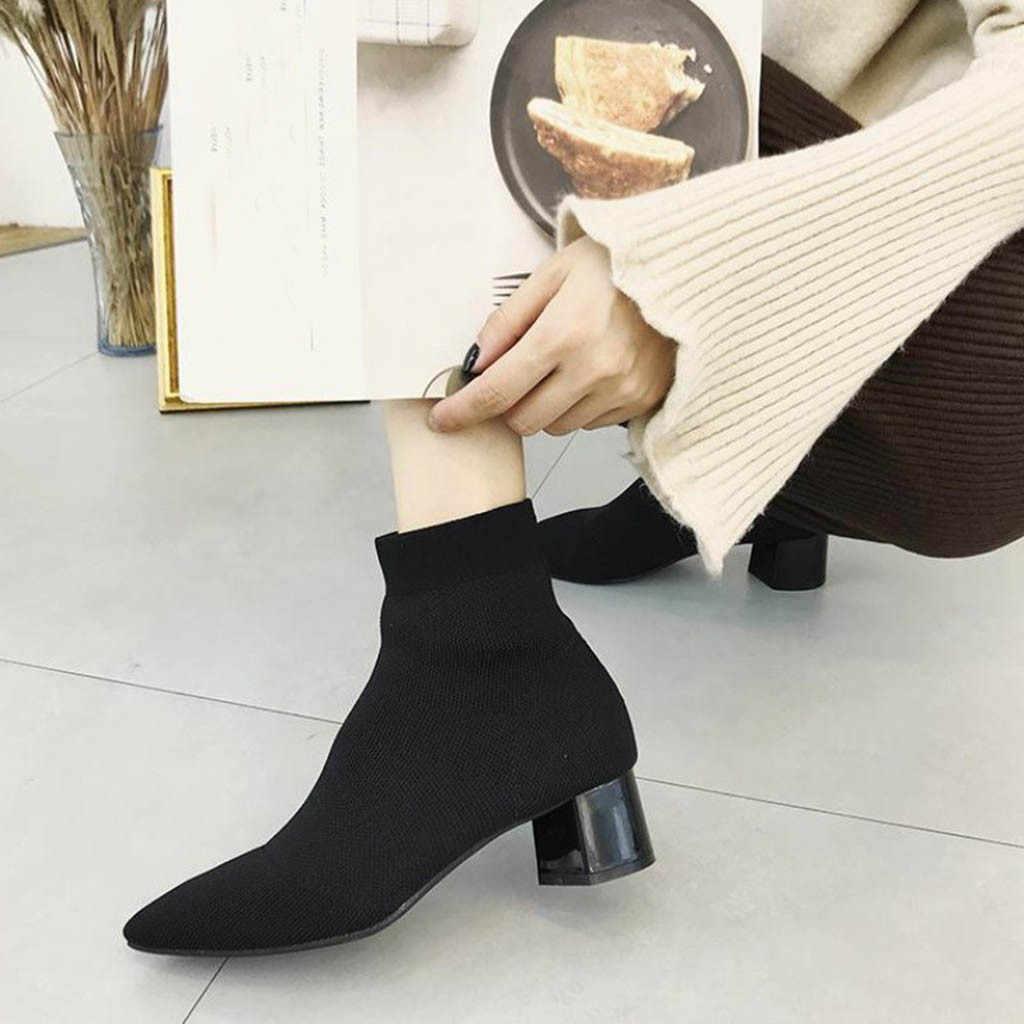 Kadın Siyah Ayak Bileği Çorap 2019 Moda Bahar Sonbahar sıcak Çizmeler Tıknaz Yüksek Topuklu Sivri Burun Kadın Ayakkabı calzado mujer