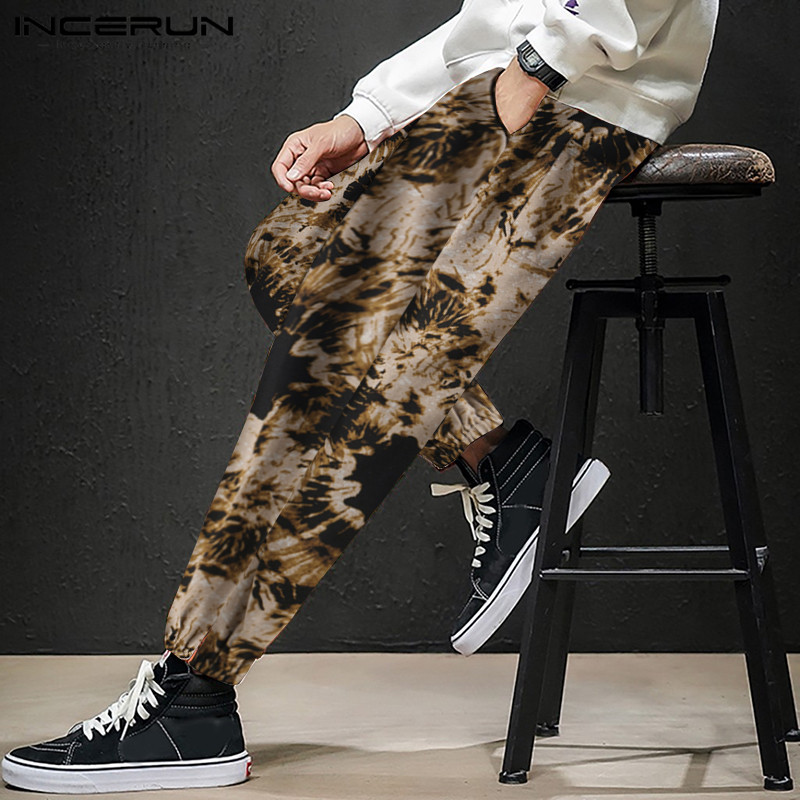 INCERUN 2020 Men's Casual Linen Pants Cool Boy Breathable Sport Cotton Print Trousers Male Stained Loose Harem Trousers S-5XL