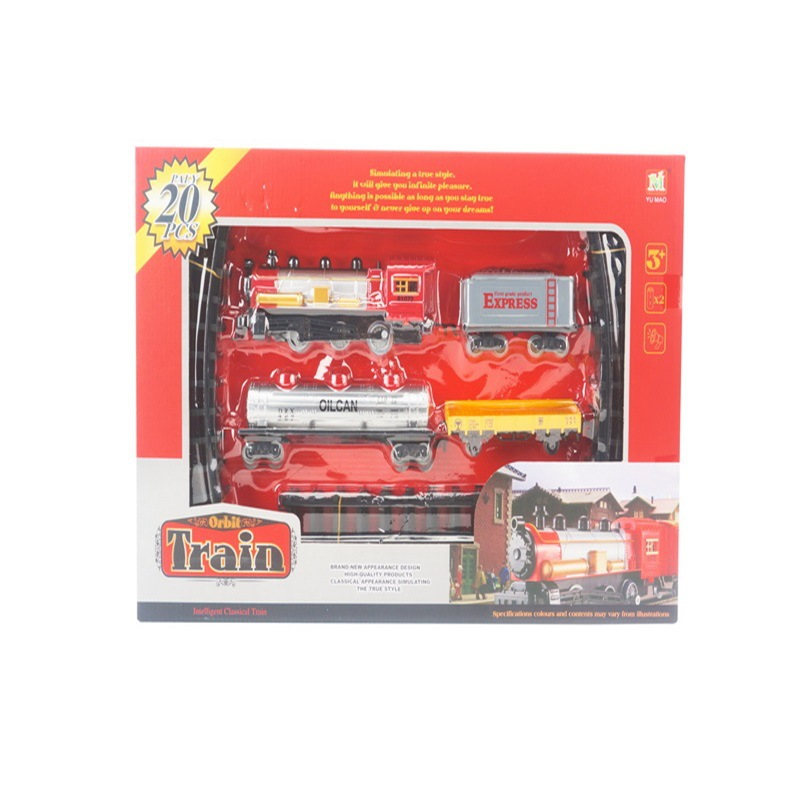 Children Christmas Assembled Electric Rail Train Music Classic Camera Track Car Cabin Christmas Toy Gift