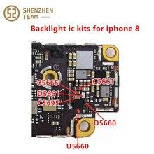 Szteam 10 pçs/lote nova luz de fundo driver ic kits u5660 + diodo d5650 d5651 capacitor c5695 c5665 c5661 para iphone 8