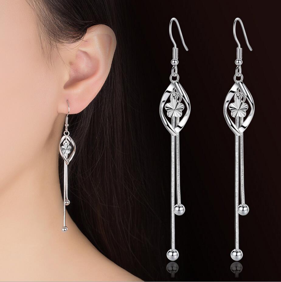 925 Sterling Silver Drop Earrings For Women Plum Flowers Pearl Twist Tassel Earrings Oorbellen Brincos S-E413