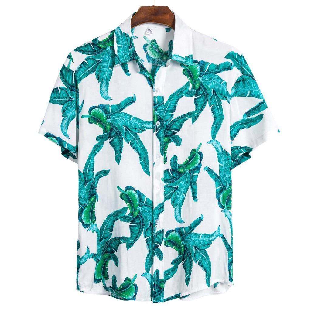 Men Ethnic Short Sleeve Casual Printing Hawaiian Shirt Blouse Plus Size M-3XL Shirts Camisa Social Masculina Camisa Hombre 2020