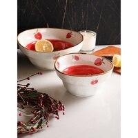 creative strawberry printed ramen noodles bowl fruit desserts under glazed ceramic mixing mixing soup bowl 1158ml