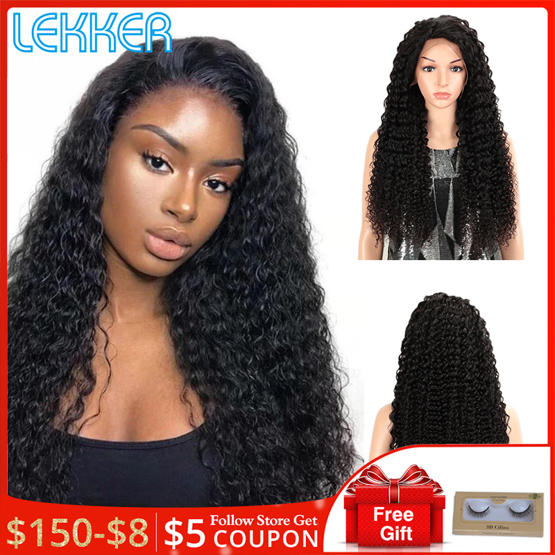 Lekker Hair Deep Wave Wig Lace Front Human Hair Wigs Pre Plucked For Black Women 13X4 Lace Front Wig Curly Human Hair Wig