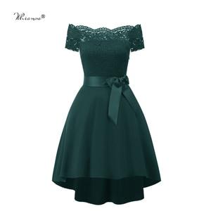 Image 5 - 7 Colors 2020 Short Lace Prom Dress Burgundy Black Zipper Side A Line With Bow Robe De Soiree Party Dress For Plus Size Woman