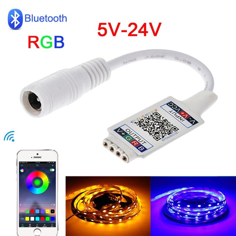LED RGB Bluetooth Controller DC 5V-24V Rgb Led Controller 12V Remote Control For Led Strip 5050 3528 2835