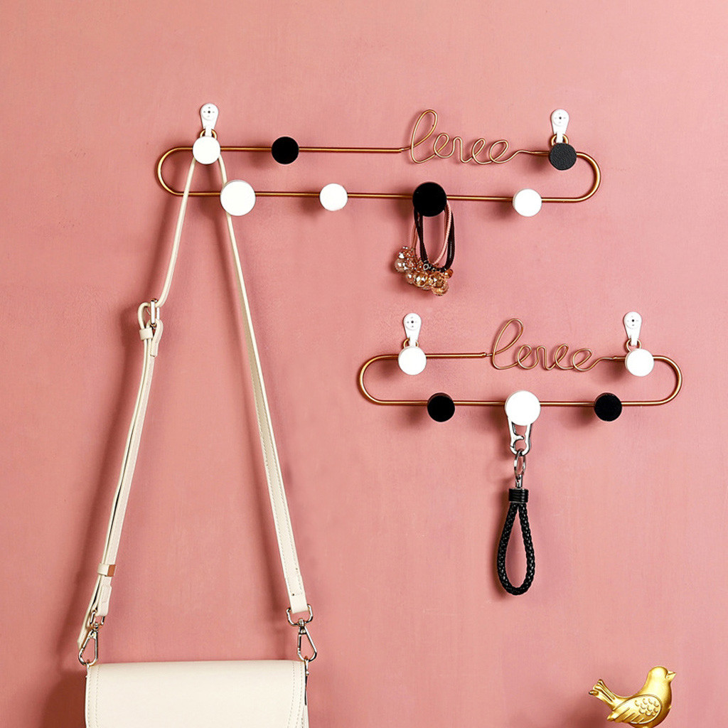 Hook Sticky-Shelves-Organizer Wall-Storage Love-Letter Decorative-Hook Metal-Coat Bedroom title=