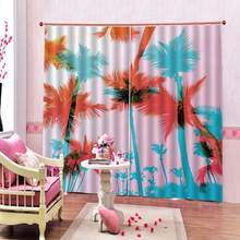 Painting Blackout 3D Curtains Hand drawn Seaside coconut tree Curtains For Living room Bedroom (left and right Double side)(China)