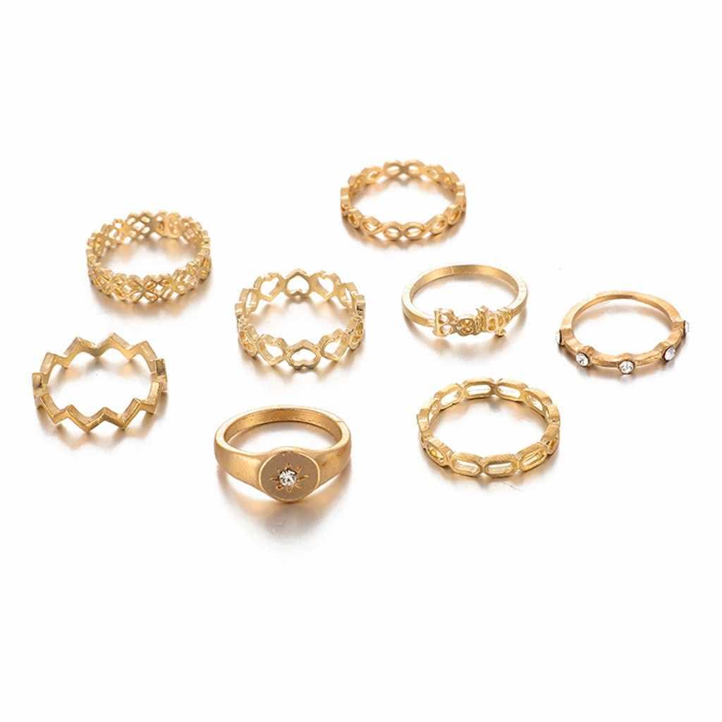 Calado anudada conjunto de anillo de diamantes de amor ocho-Anillo de pieza Conjunto para las mujeres geométrico bohemio Vintage anillos de joyas de cristal # Y3