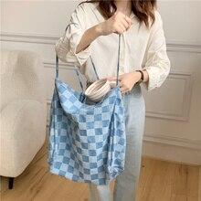Women Big Canvas Shoulder Bag Chess Plaid Extra Large Tote Blue Denim Cloth Handbag Grocery Bag Eco Shopping Bags For Ladies