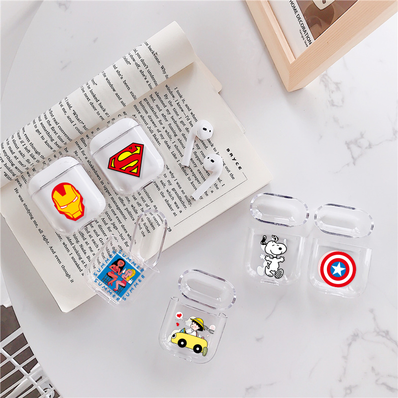 Earphone Charging Box Hard PC Transparent Case Cover For AirPods 1 2 Cartoon Patterned Wireless Cover Bag For Apple AirPods 1 2