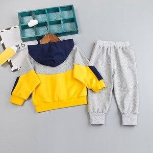 Image 3 - Комплект одежды для маленьких мальчиков, хлопковый спортивный костюм, штаны, пальто с капюшоном, комплект из 2 предметов, детский спортивный костюм, одежда для девочек, цветная строчка