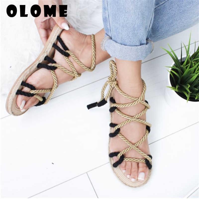 Frauen Sandalen 2020 Mode Sommer Schuhe Frau Flache Sandalen Hanf Seil Lace Up Gladiator Sandalen Nicht-slip Strand Chaussures femme