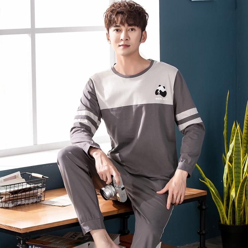 Sleepwear-Set Home-Wear Mens Pyjama Warm Winter 100%Cotton Autumn For Elastic-Pants High-Quality