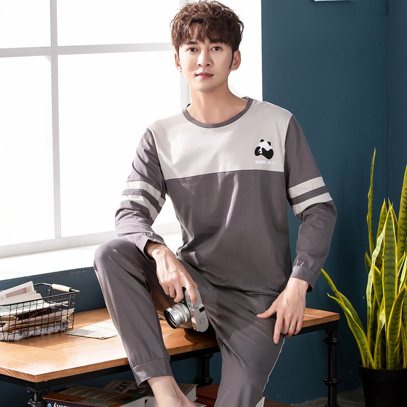 High Quality 100% Cotton Men Sleepwear Set Autumn Winter New Warm Simple Home Wear Pajamas Set For Men Elastic Pants Mens Pyjama