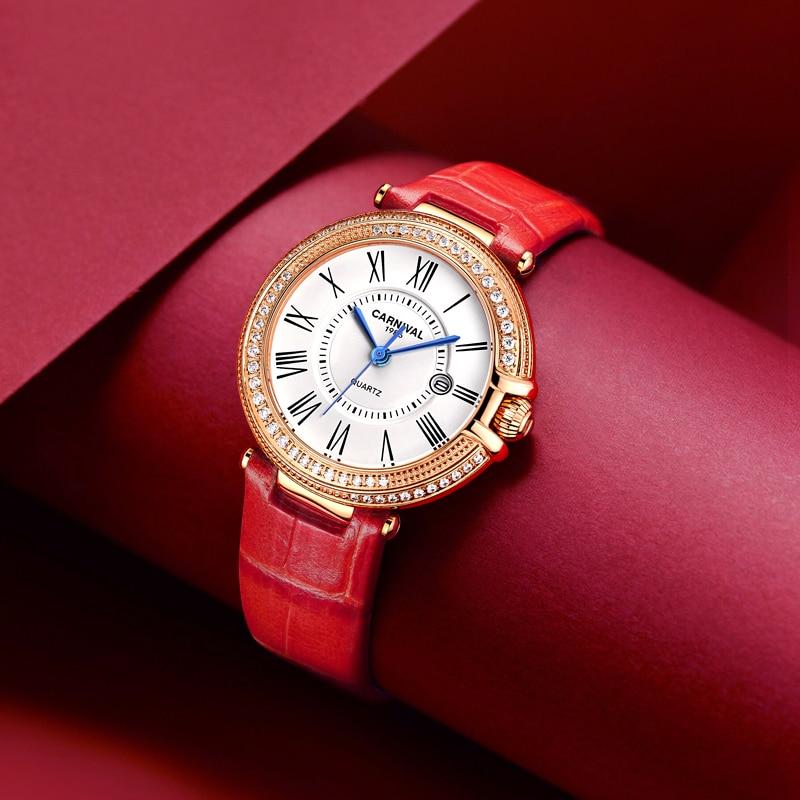 Carnival Women Watches Luxury Diamond Ladies Quartz Watch Leather Strap Wrist Watch Relogio Feminino