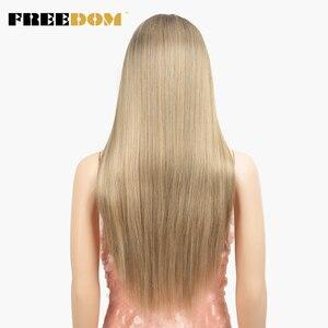 Image 4 - 自由合成レースフロントウィッグ 40 インチ晩餐ロング深い自然波オンブルブロンド 613 色の髪のかつら女性ファッション