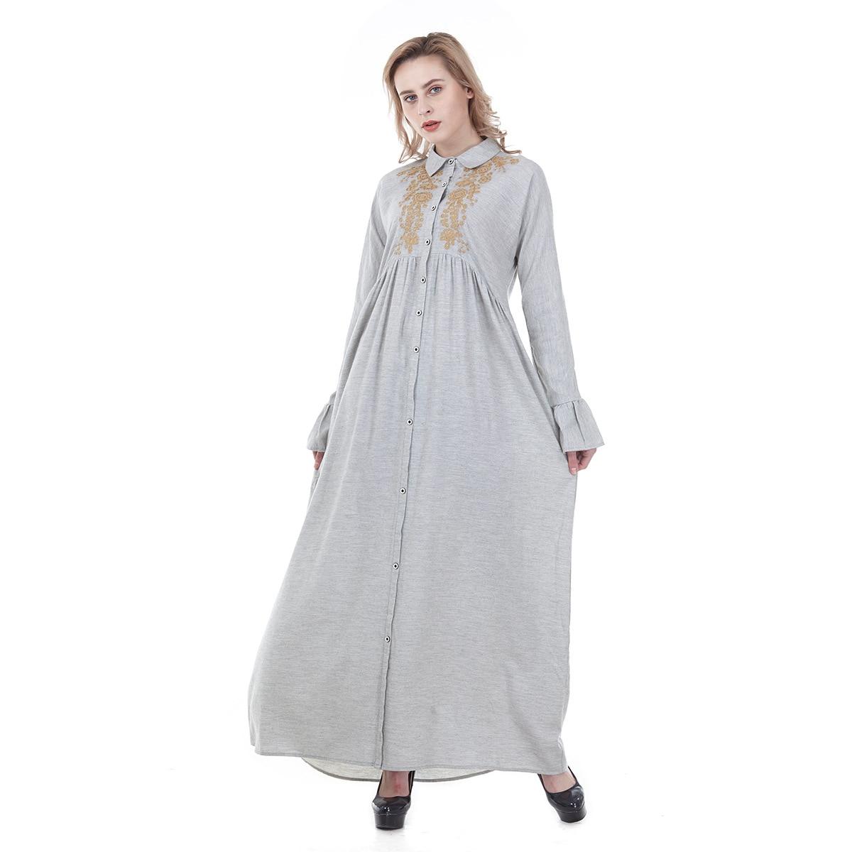 Middle East Fashionable Embroidered Sexy Shirt-style Cardigan Dress Muslim Clothing Kaftan Women Dubai Dress Turkey