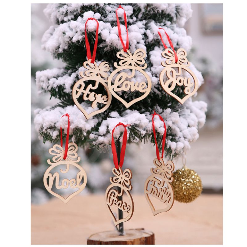 Christmas Decorations Wooden Hollow Ornaments Christmas Tree Pendants 6 Pieces Home font b Garden b font