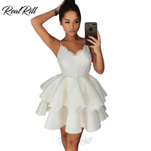 Real Rill Spaghetti Straps V Neck Homecoming Dresses Lace Up Back Mini Graduation Dress Top Satin A Line Cocktail