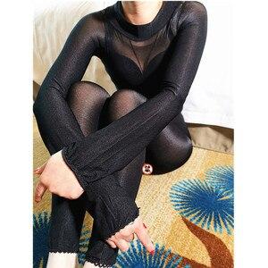 Image 4 - Bas de corps pour femme, Sexy, sans entrejambe, brillant, ouvert, à lhuile, tenue une pièce, 70D