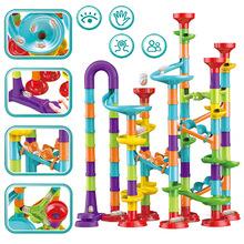 DIY marmur budowlany Run Race Track Maze Balls Track klocki dla dzieci Puzzle edukacyjne zabawki gra Christmas Gift tanie tanio CN (pochodzenie) 8 ~ 13 Lat