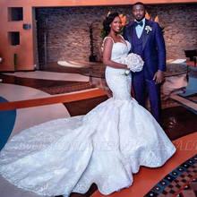 アフリカプラスサイズマーメイドウェディングドレスセクシーな V ネックビーズのウェディングドレスアップリケサテンブライダルドレス