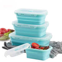 Silicone Collapsible Lunch Box Food Storage Container Portable Picnic Camping Storage Case Bento Box