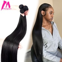 Maxglam 30 40 Inch Straight Human Hair Bundles Brazilian Remy Natural Bone Straight Hair Extensions Weave Double Wefts 1 Bundle