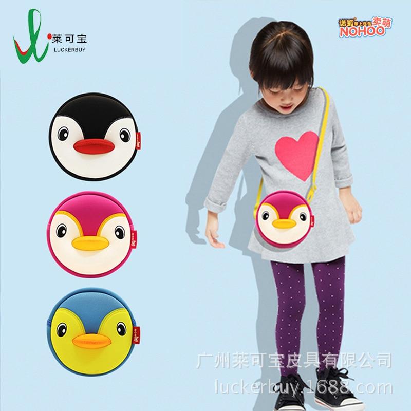 KID'S Messenger Bag Men And Women Baby Cartoon Black And White With Pattern Penguin Bag Waterproof Cute Students Change Key Shou