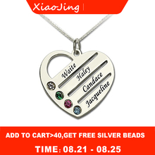 XiaoJing Personalized 925 Sterling Silver Heart Necklace Engraved Name Pendant Necklaces fashion Jewelry For Mother Gift 2019 personalized necklaces 925 sterling silver engraved necklaces diy personalized jewelry family children mother pendants necklace