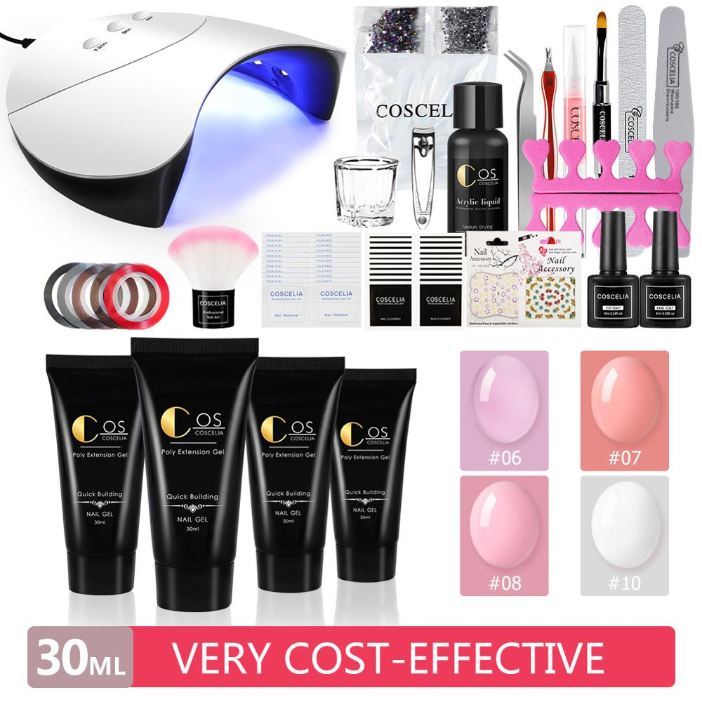15 / 30ML extended gel set with 36W USB UV LED light acrylic nail set extended gel brush for semi-permanent manicure tools