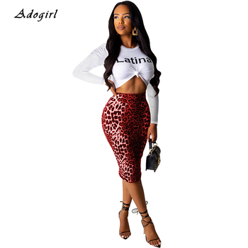 Latina Letter Print Two Piece Set Sexy White T Shirt Crop Top With Bodycon Leopard Shirts Women Sets Casual Night Club Outfit