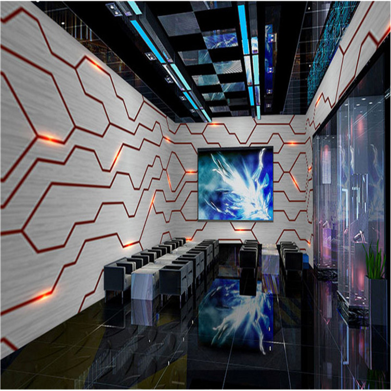 Modern Technology Sense Industrial Decor Mural Wallpaper Gray Circuit Board Metal Background Bar KTV Internet Bar Office Mural