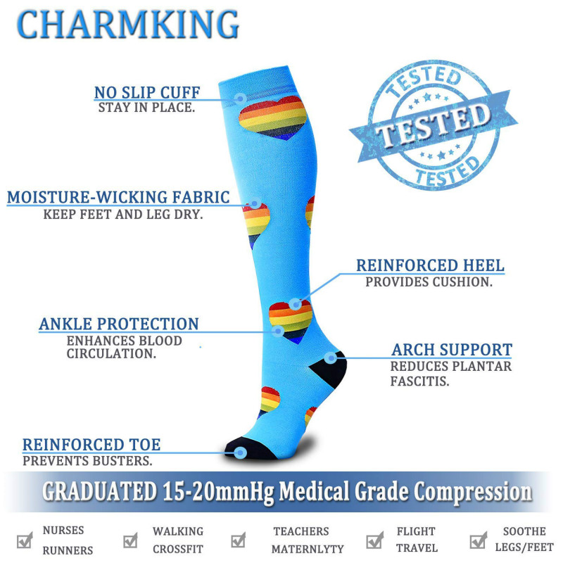 Compression Socks (4/6/7/8 Pairs), 15-20 Mmhg Is BEST Graduated Athletic & Medical for Men & Women Nurse Running Flight Travels