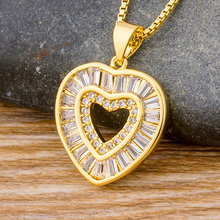 Fashion Exquisite Heart Design Micro Pave Cubic Zircon Choker Necklace Gold Chain For Women Pendant Jewelry Accessories Gift