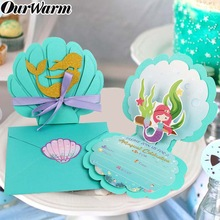 OurWarm 6pcs Mermaid Theme Party Invitation Cards Kids Girls Birthday Invitation Baby Shower Wedding Pool Party Supplies Favors