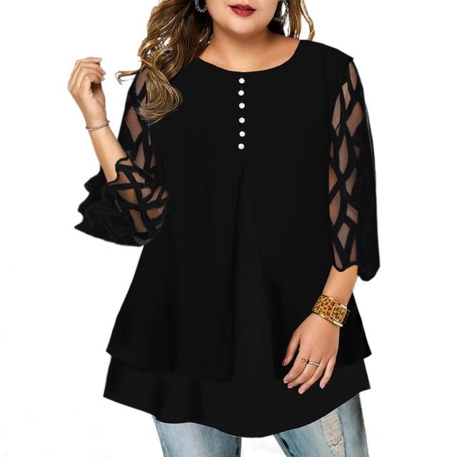 beautiful geometric sleeve button top blouse 1
