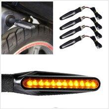 1PCS LED Motorrad Blinker Licht 12 SMD Schwanz Blink Fließende Wasser Blinker IP68 Biegsamen Motorrad Blinkende Lichter