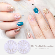 3 Sizes Nail Art Baby Pearl Rhinestone Nail Art 3D Decoration In Wheel Nail Art Accessories Tools недорого
