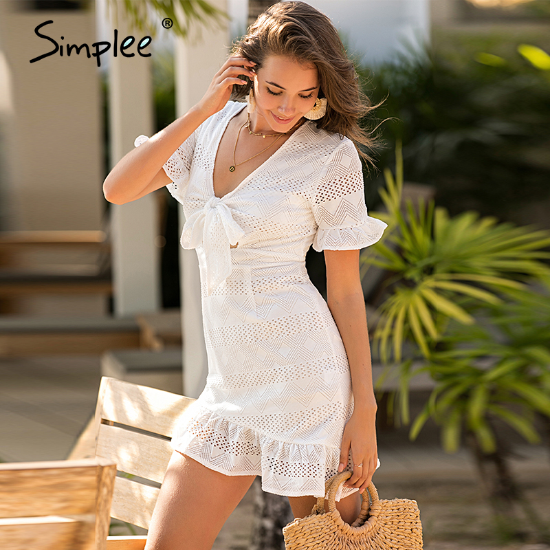 Image 3 - Simplee Hollow out women white dress Geometric a line slim fit wrap sexy dress Ladies chic holiday cotton spring summer dressDresses   -